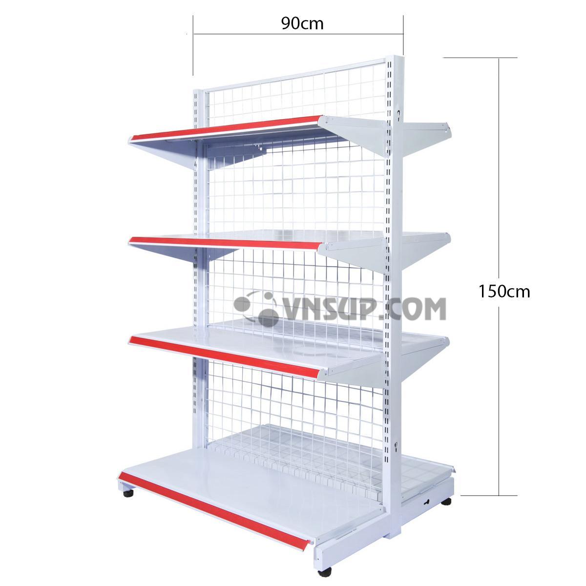 Kệ siêu thị đôi 4 tầng rộng 0.9m x cao 1.5m dày 0.6 Chiều cao kệ 1,5m Chiều dài mâm tầng 0.9m Độ rộng mâm đấy 45cm Độ rộng mâm tầng 35cm 8 tầng 2 bên