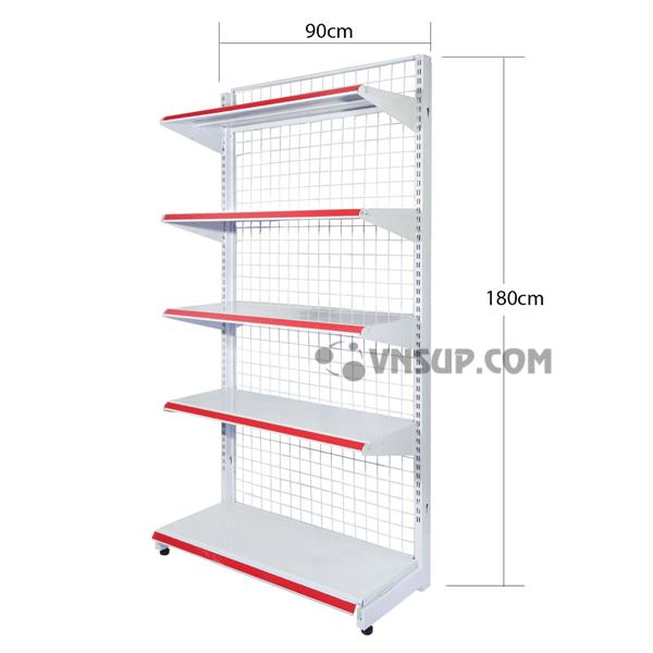 Giá kệ siêu thị đơn 0.7x1.8 mỏng 0.6mm