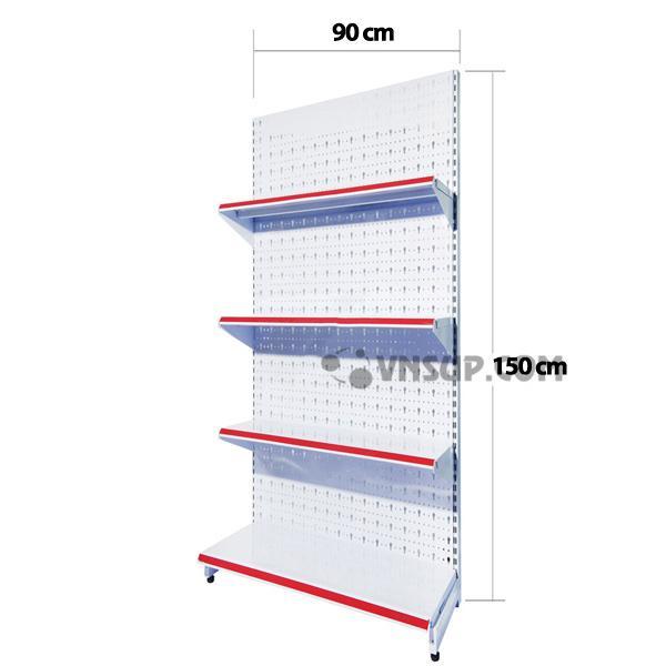 Kệ siêu thịtôn đục lỗ 0.9m x 1.5m Chiều cao kệ: 1,5m Trọng lượng kệ : 12kg/ bộ Mặt đáy : D90cm x R38cm Mặt tầng : D90cm x R33cm, Chịu lực 75kg-90kg
