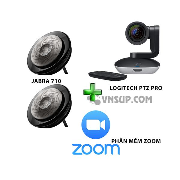 Combo Jabra 2×710+Logitech PTZ Pro+Phần mềm zoom