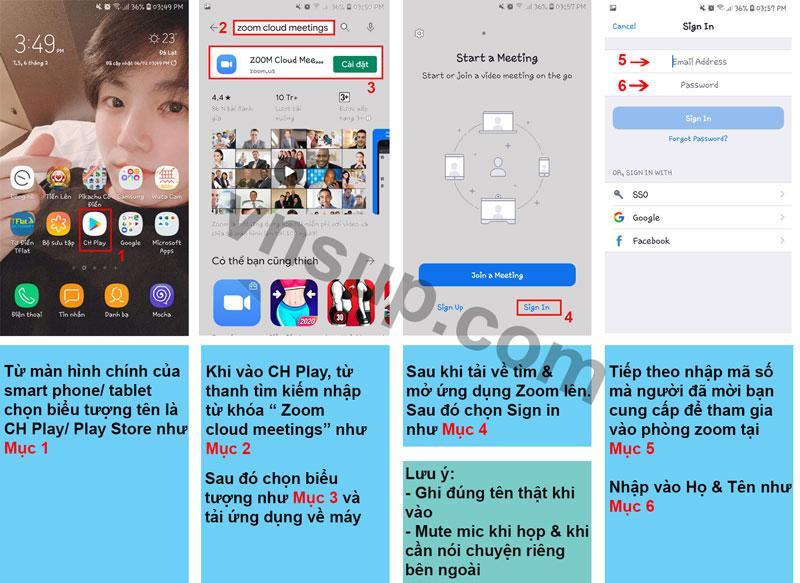Hướng dẫn cài đặt và tham gia vào phòng Zoom trên Smart phone/ tablet Android
