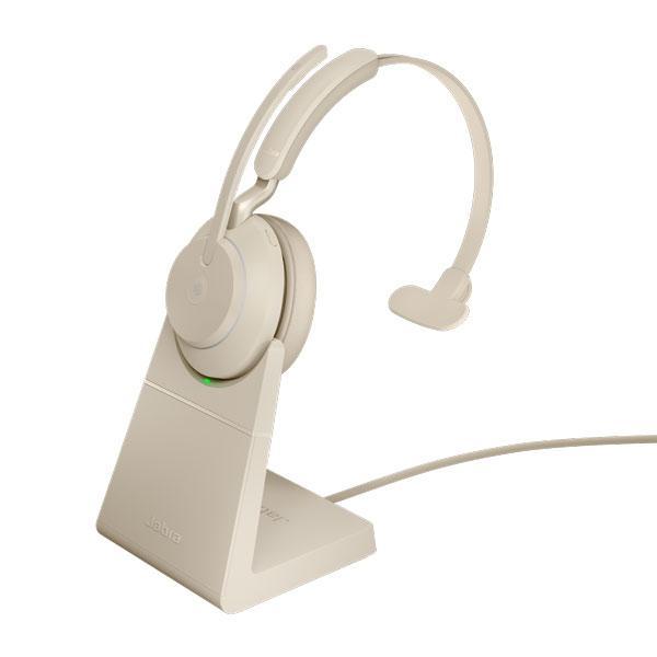 Tai nghe Jabra Evolve2 65 USB-C MS Mono có đế sạc - trắng