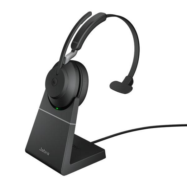 Tai nghe Jabra Evolve2 65 USB-C MS Mono có đế sạc - Đen