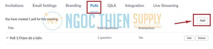 Trong thẻ Poll (thăm dò ý kiến, hoặc trả lời câu hỏi)