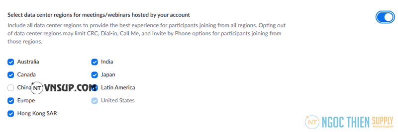 Select data center regions for meetings/webinars hosted by your account