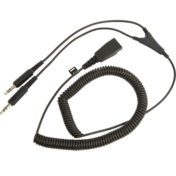 Jabra PC cord, QD to 1x3.5mm, Coiled, 2 meters