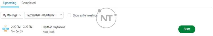 Xem danh sách các cuộc họp trên Webex Meetings