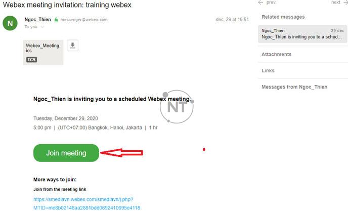 Cách tham gia vào cuộc họp webex trên window
