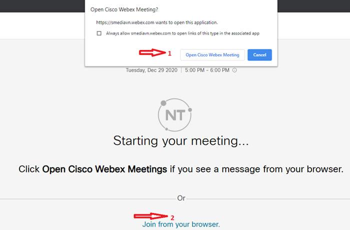 Cách tham gia vào cuộc họp webex trên trình duyệt web